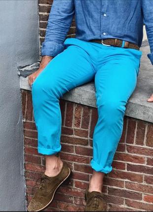Сине голубые мужские джинсы portonova