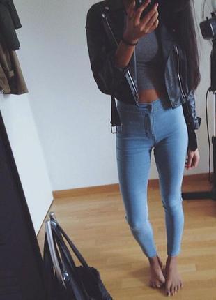 Светлие джинсы american apparel скини високая талия