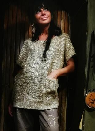 Кофта джемпер люрекс с карманом вязаная блуза wallis оверсайз oversize