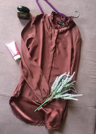 Шикарная шелковая блуза цвета марсал с рюшами liebeskind berlin