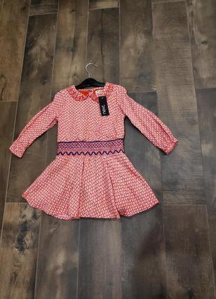 Красивое платье в орнамент с вышивкой от next, 2-3 г. новое!