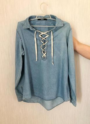 Джинсовая рубашка из денима со шнуровкой джинсовая рубашка блуза