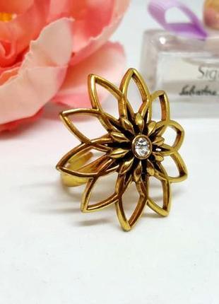 """Ажурное позолоченное кольцо """"цветок"""" с кристаллом дания pilgrim"""