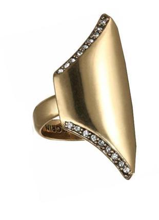 Крупное кольцо с кристаллами позолота дания pilgrim