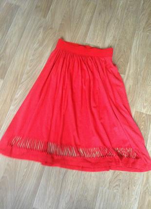 Креативна стильная юбка декор перфорация широкая просторна свободна удлиненная лето летняя