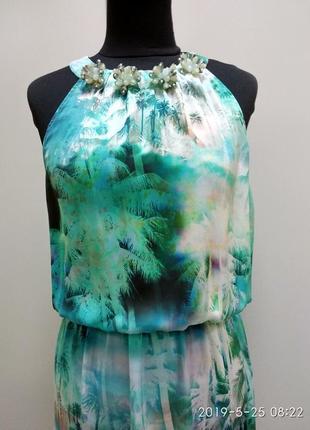 Hallhuber длинное лёгкое шёлковое платье тон бирюзовый р14