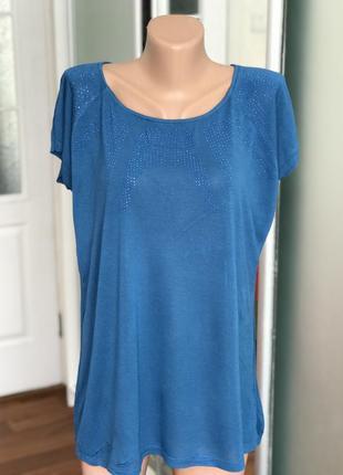 Синяя футболка со стразами размер хл2 фото