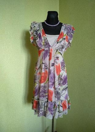Актуальное крмбинированное платье 14 размер наш 48