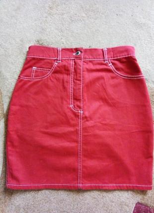 Стильная коттоновая красная юбка 8-10 рр от stella mode ориентируйтесь по замерам