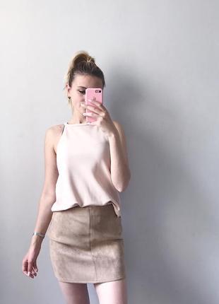 eafc297a016 Бежевая замшевая юбка мини missguided