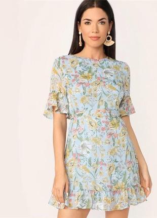 Платье голубое цветочный принт