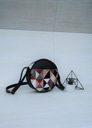 Круглая сумка кросс-боди, сумка через плечо мозайка handmade