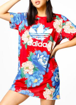 Adidas платье длинная футболка принт цветы