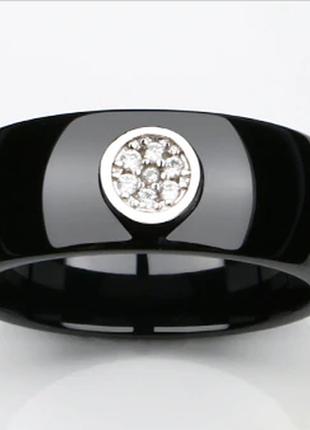 Керамическое черное кольцо с кристаллами код 16164 фото