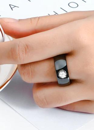 Керамическое черное кольцо с кристаллами код 16163 фото