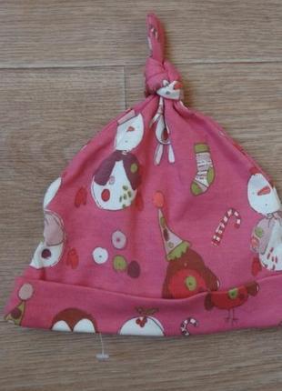 Новая розовая шапочка next на девочку 6-9 месяцев