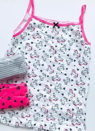 Детская бельевая майка для девочек примарк с единорогами