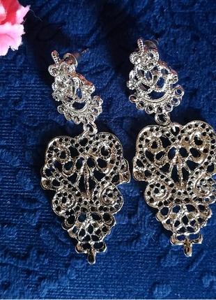 Серьги серебро в богемном стиле сережки