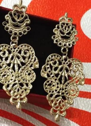 Серьги в богемном стиле золото  сережки