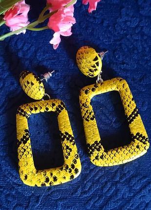 Серьги тигровый принт желтые сережки