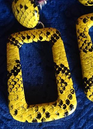 Серьги тигровый принт желтые сережки4 фото