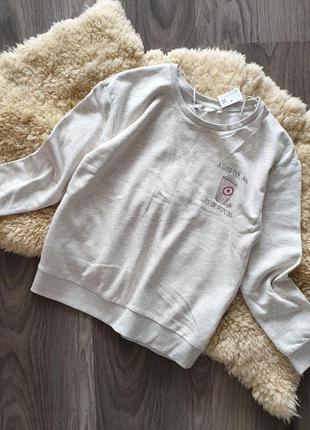 Clockhouse германия 2019 базовый свитшот m-l серый свитер джемпер пуловер принт