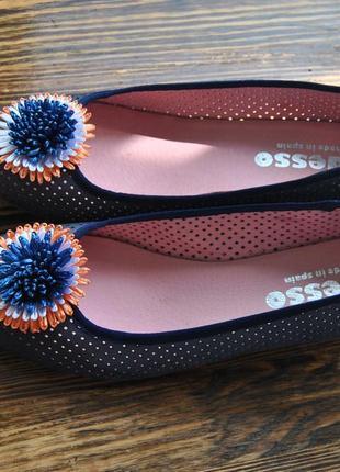 Кожаные туфли балетки босоножки adesso / шкіряні туфлі