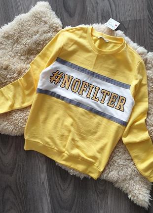 Clockhouse германия 2019 свитшот xs s m желтый свитер джемпер пуловер принт тренд