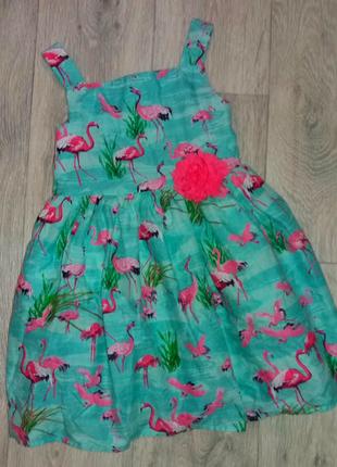 Красивое яркое платье в фламинго на модницу
