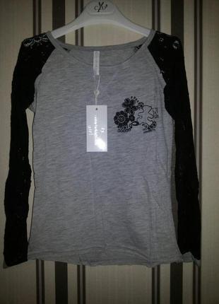Красивая футболка блуза с кружевными рукавами lulucastagnette