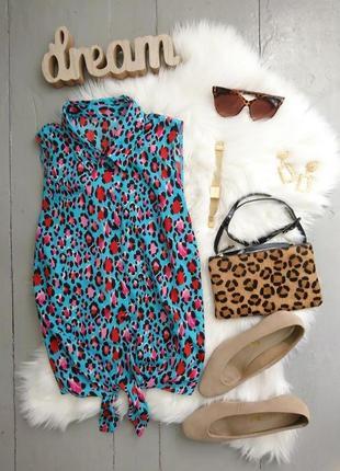 Стильная блуза в леопардовый принт с завязкой на животе №17max