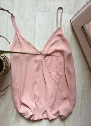 Пудровый шифоновый топ блуза имитация запаха new look