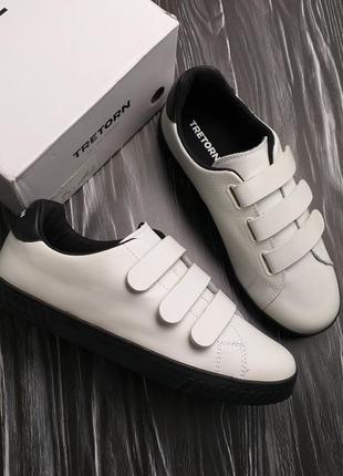 Tretorn оригинал белые кожаные кеды на липучках