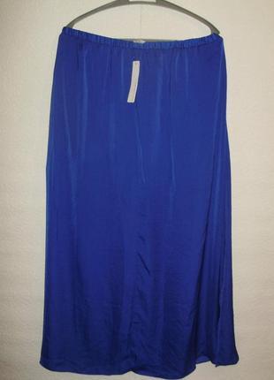 Новая с биркой сатиновая юбка под шелк с разрезами/батал/16/50-52 размера