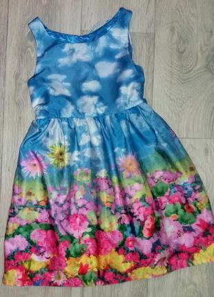 Роскошное платье в небесно-цветочный принт