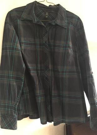 Блузка рубашка h&m хl синяя в клеточку офисная повседневная