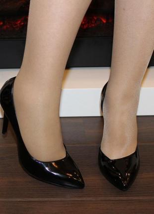 Стильные черные лаковые туфли лодочки lino marano на высоком каблуке шпильке