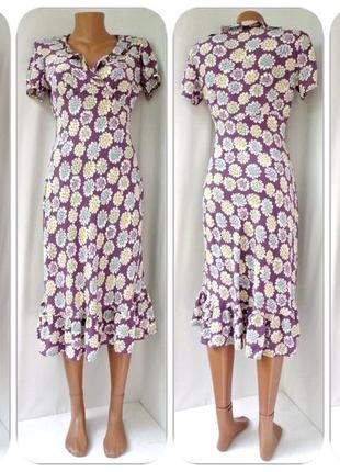 Нежное вискозное платье-миди boden с рюшами. размер uk10 (s/m).