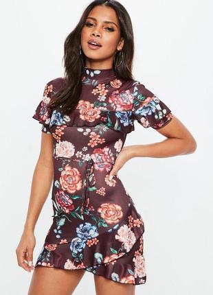 3d17a0137de Коричневое платье с рюшами