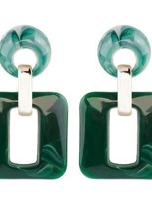 Серьги зелёный камень, квадратные серьги