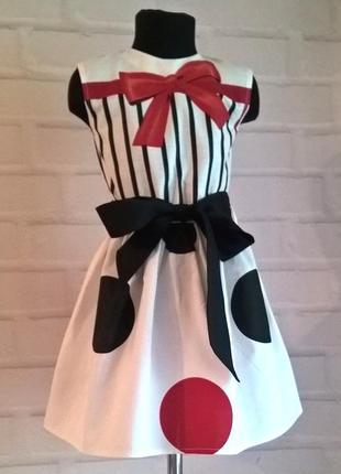 Платье для девочки с принтом горох из 100% хлопока 110-1404 фото
