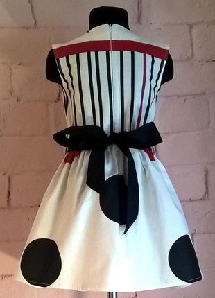 Платье для девочки с принтом горох из 100% хлопока 110-1403 фото