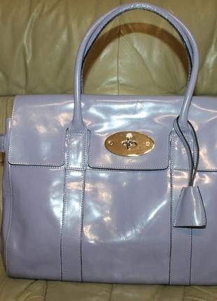 Mulberry роскошная  сумка из натуральной лакированной кожи сер. №,англия