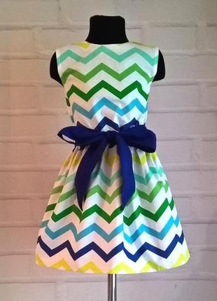 Платье для девочки с принтом зигзаг синий из 100% хлопок рр 110-128