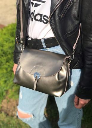 Женская кожаная сумка голубая бронзовая жіноча шкіряна сумка блакитна бронзова3 фото