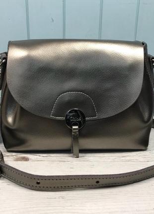 Женская кожаная сумка голубая бронзовая жіноча шкіряна сумка блакитна бронзова4 фото