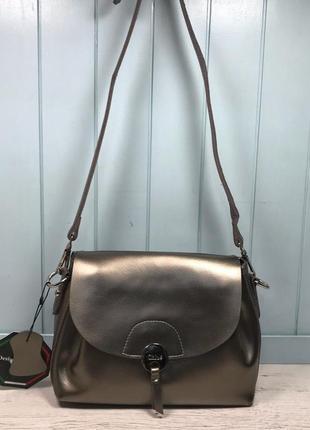 Женская кожаная сумка голубая бронзовая жіноча шкіряна сумка блакитна бронзова5 фото