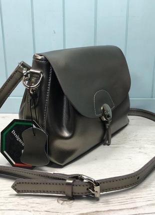 Женская кожаная сумка голубая бронзовая жіноча шкіряна сумка блакитна бронзова6 фото