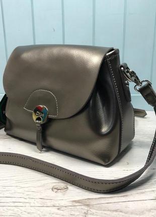 Женская кожаная сумка голубая бронзовая жіноча шкіряна сумка блакитна бронзова7 фото