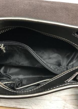 Женская кожаная сумка голубая бронзовая жіноча шкіряна сумка блакитна бронзова9 фото